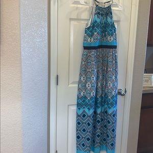 WHBM maxi dress with silver choker neckline